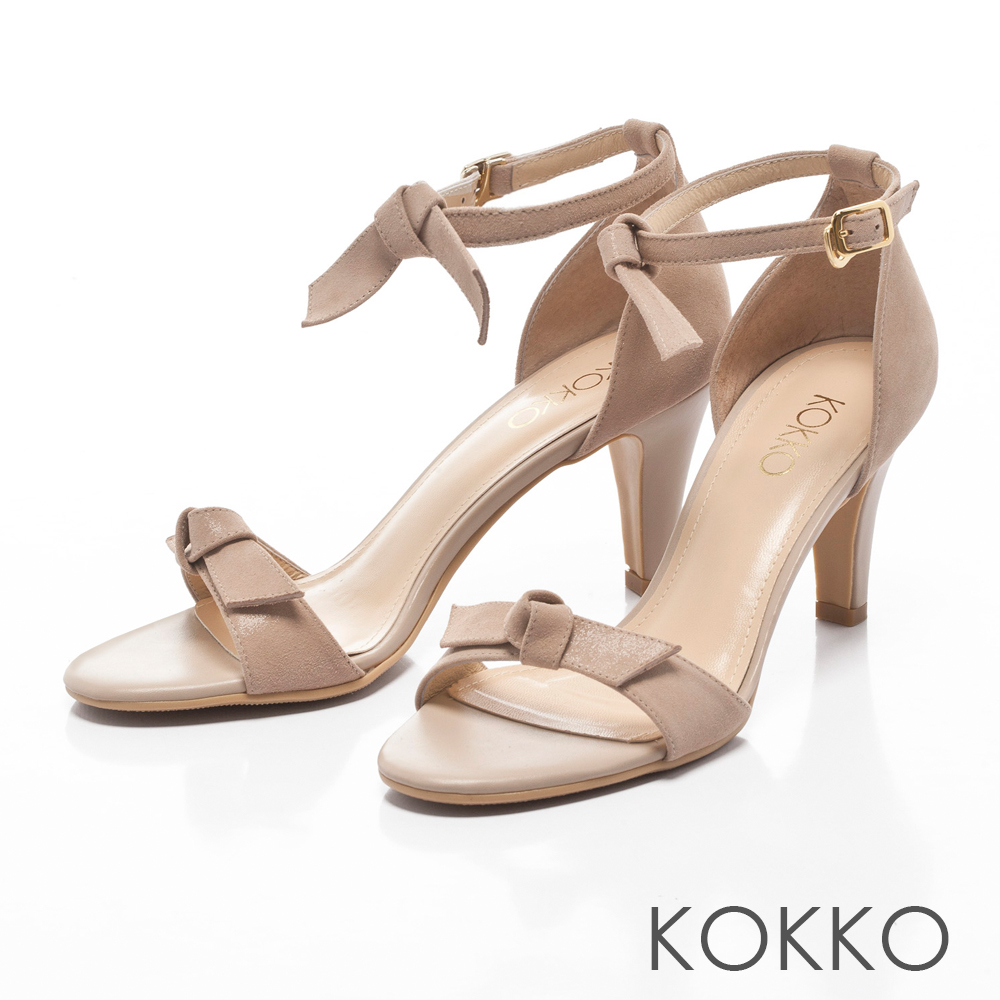KOKKO -微醺時光蝴蝶結踝帶高跟涼鞋-溫柔粉