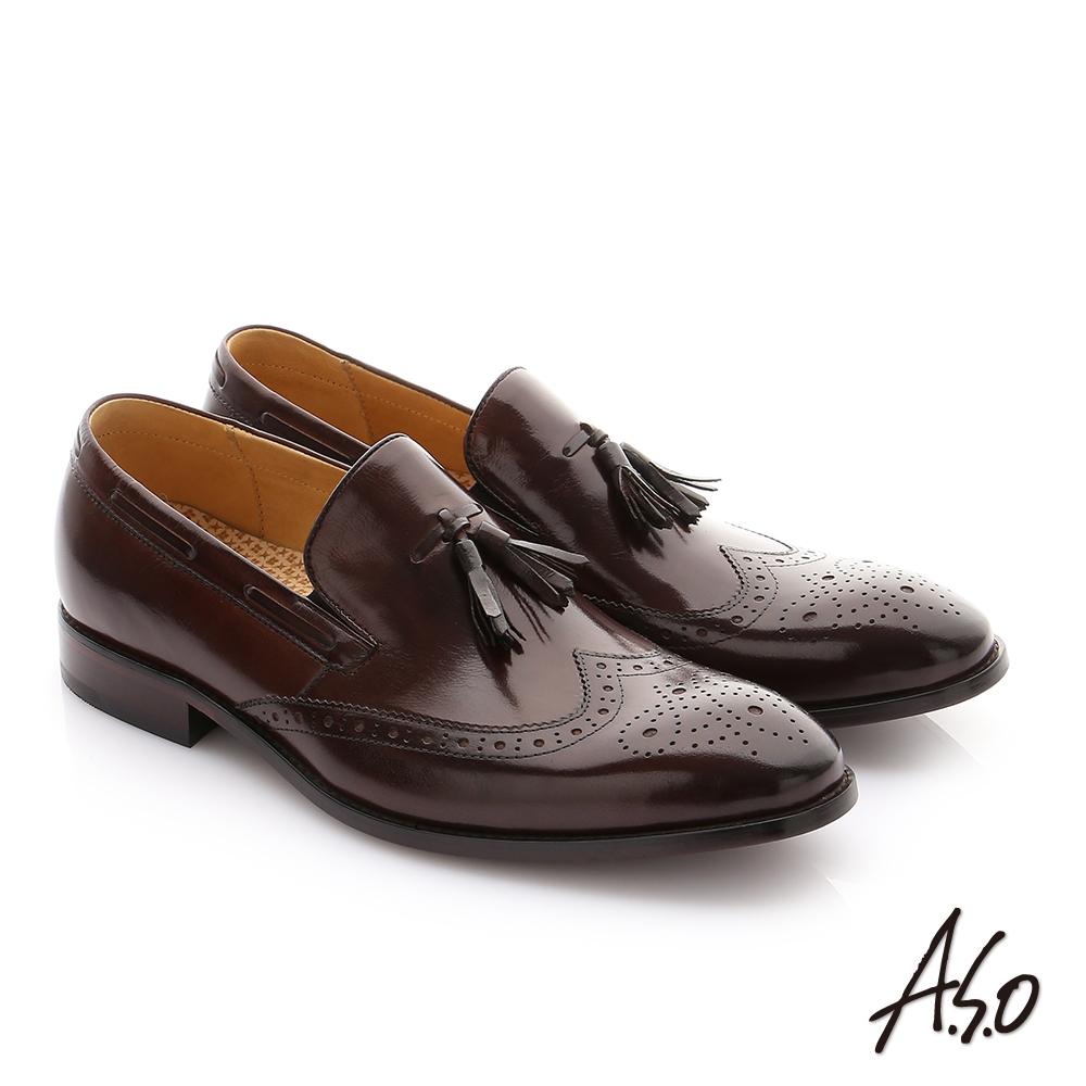 A.S.O 尊榮青紳 牛皮奈米鬆緊帶紳士鞋 咖啡色