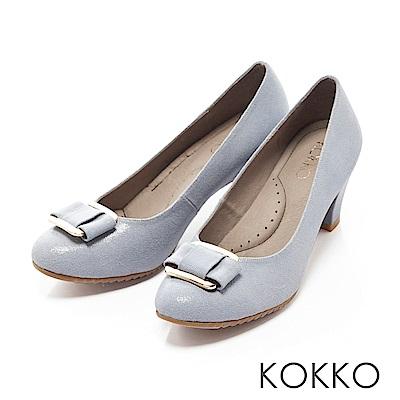 KOKKO -都會時尚金屬飾釦羊皮粗高跟鞋-小男孩藍