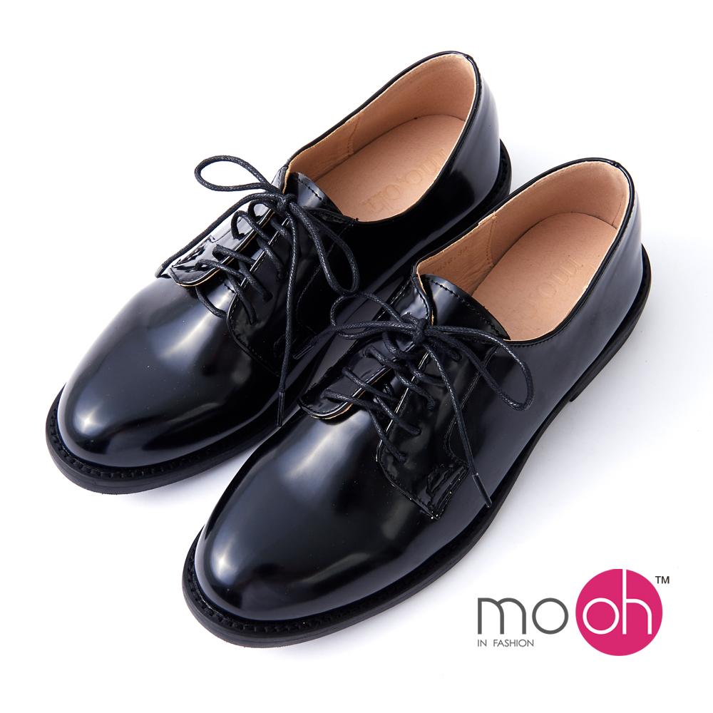 mo.oh -英倫漆皮綁帶圓頭牛津皮鞋-黑色