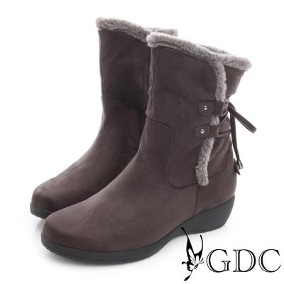 GDC溫暖-兩穿真皮綁帶拉鍊楔型跟中筒靴-深灰色