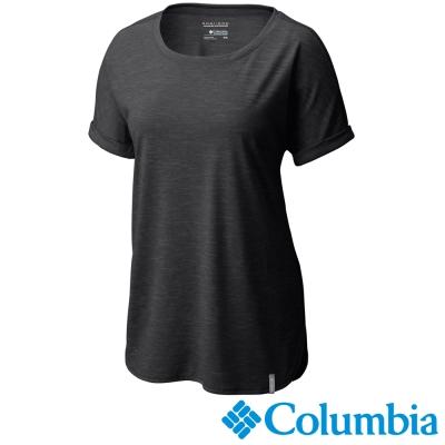 【Columbia哥倫比亞】女-快排短袖瑜珈上衣-黑灰色 UAK19560BY