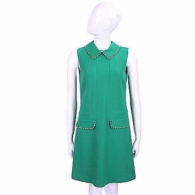 ERMANNO SCERVINO 羊毛祖母綠珍珠細節襯衫領背心洋裝