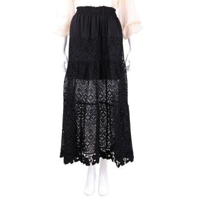 ERMANNO SCERVINO 黑色鏤空雕花蕾絲長裙