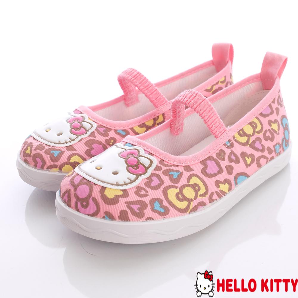 Hello Kitty精品童鞋~繽紛豹紋娃娃鞋-713536粉(中童段)