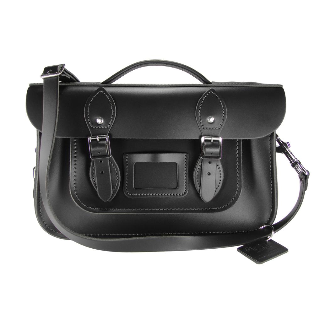 The Leather Satchel 英國手工牛皮劍橋包 肩背手提包 火炭黑 12.5吋