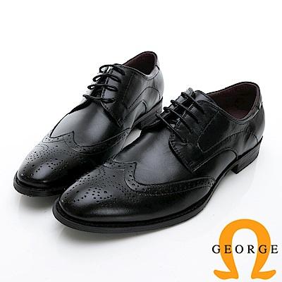 GEORGE 喬治-時尚職人系列 皮革拼接牛津鞋紳士鞋 皮鞋 氣墊鞋 男鞋-黑