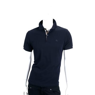 BURBERRY 格紋開襟網眼棉質POLO衫(男款/暗海軍藍)