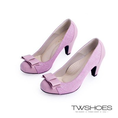 TWshoes真皮甜美名媛蝴蝶結中跟鞋-紫