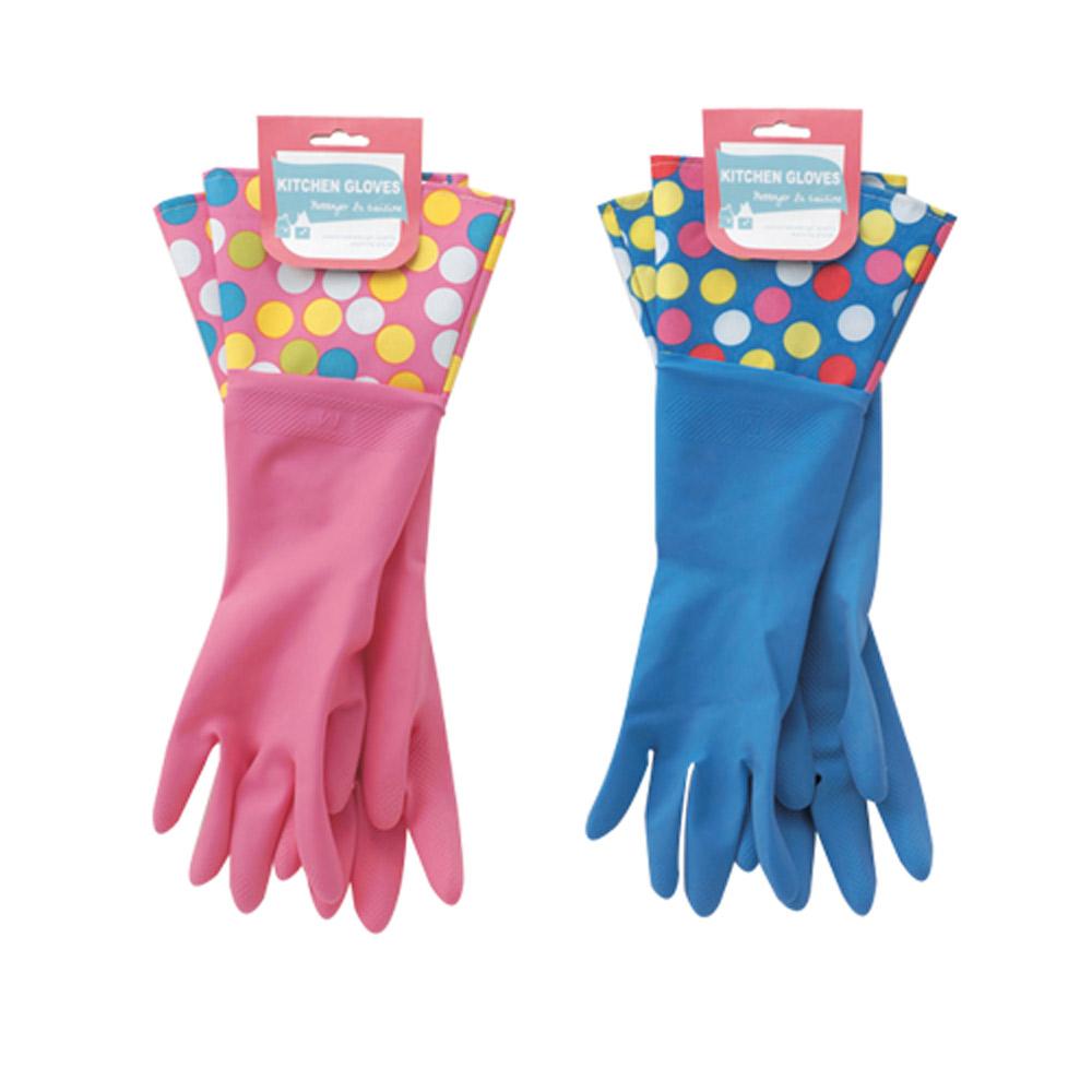 【日本 maruwa】水玉點點橡膠手套4雙入 (粉紅+藍)-特惠組