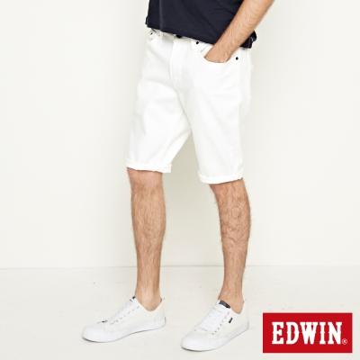 EDWIN 加大碼503基本五袋休閒短褲-男-白色