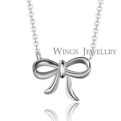 Wings 甜蜜蝴蝶結 精緻優雅設計 精鍍白K項鍊
