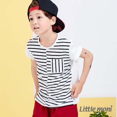 Little moni 美式休閒條紋撞色棉上衣  白色