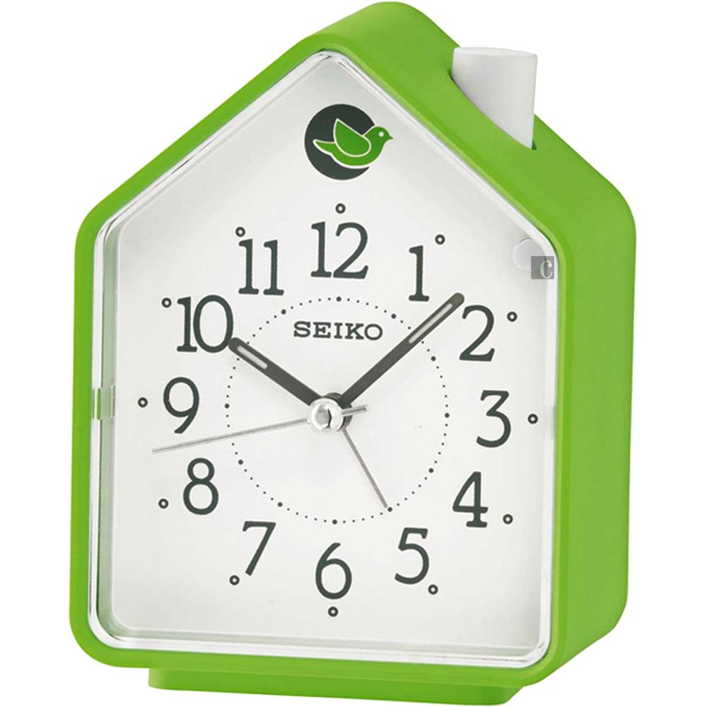 SEIKO精工 小木屋原音鳥鳴鬧鐘(QHP002M)-綠