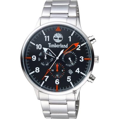 Timberland天柏嵐 二地時區日曆手錶-黑/45mm
