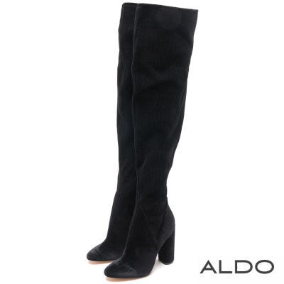 ALDO 黑色性感蛇紋內側拉鍊高跟長靴~尊爵黑色
