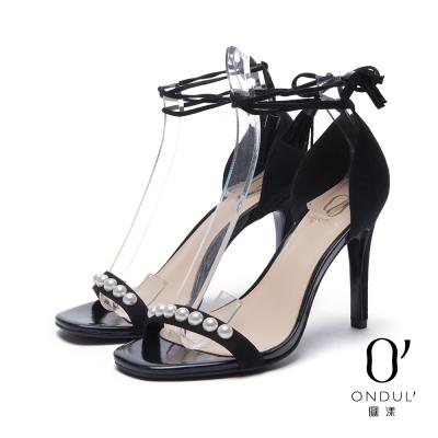 達芙妮x高圓圓 圓漾系列 涼鞋-珍珠裝飾流蘇綁帶一字高跟涼鞋-黑