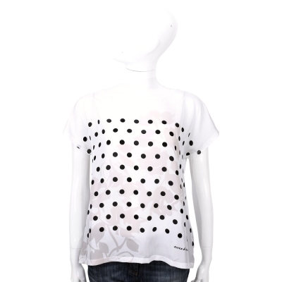 Max Mara-WEEKEND 白色樹葉浮印圓點飾短袖T恤