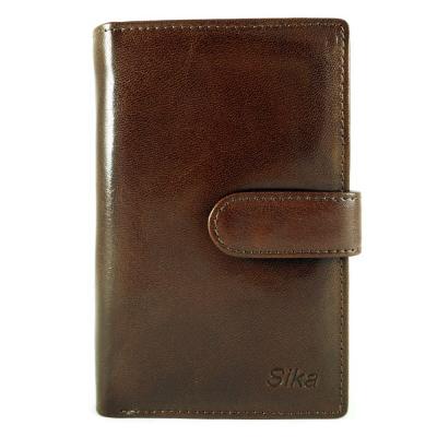 Sika - 義大利時尚真皮壓扣中夾A8283-02 - 深椰褐