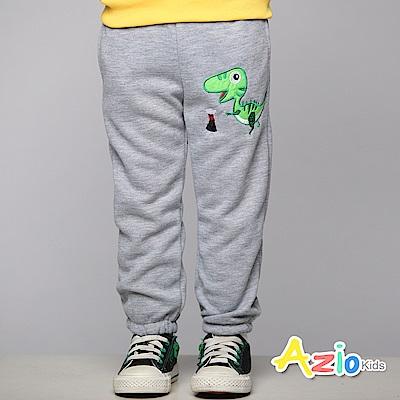 Azio Kids 童裝-長褲 磨毛綠色恐龍雙口袋長褲(灰)