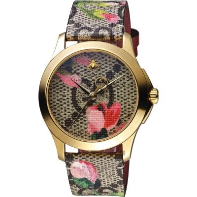 Gucci古馳 G-Timeless 花朵綻放優雅手錶-38mm