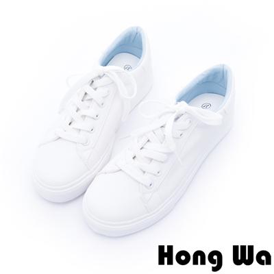 Hong Wa - 日系超激瘦小魚塗鴉厚底小白鞋 - 藍白
