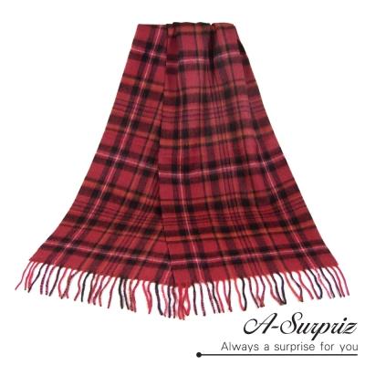 A-Surpriz-永恆格紋厚織純羊毛圍巾-暗紅格