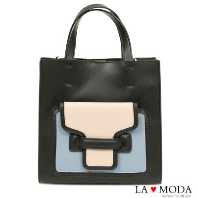 La Moda 經典品牌Look拼接撞色大容量手提肩背托特包(黑藍)