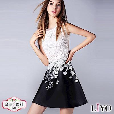 洋裝歐風蕾絲拼接繡花優雅洋裝LIYO理優O816002 S-XL