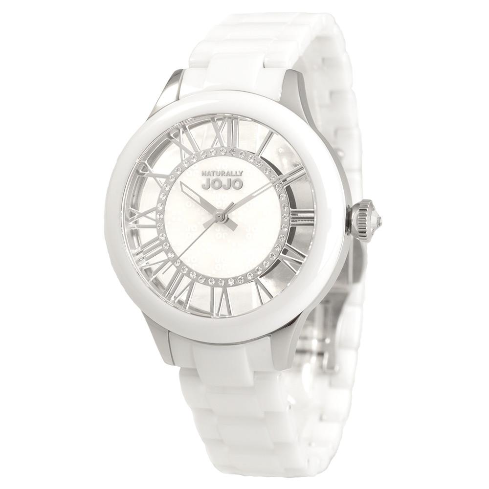 NATURALLY JOJO 思想延續陶瓷時尚腕錶-白/37mm