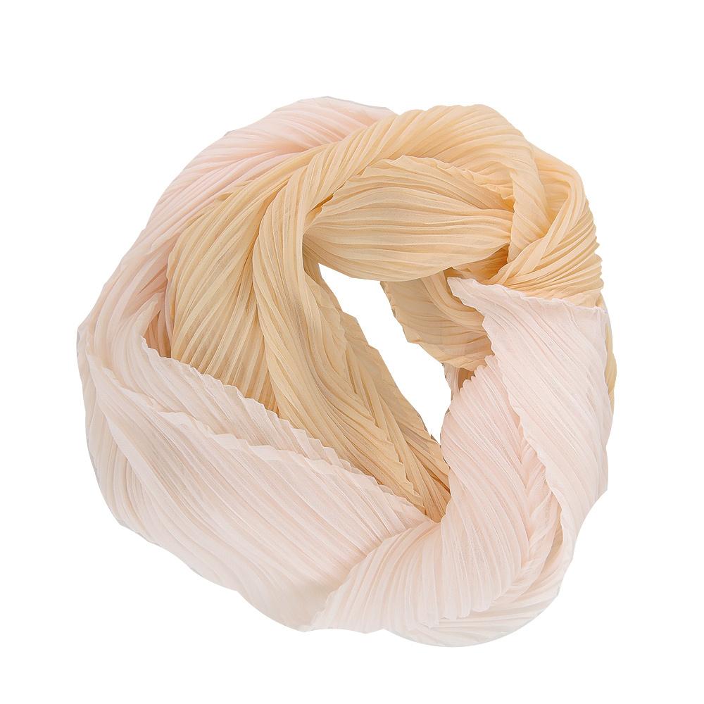 ISSEY MIYAKE 三宅一生 PLEATS PLEASE 雙色漸層O型圍巾(奶油)