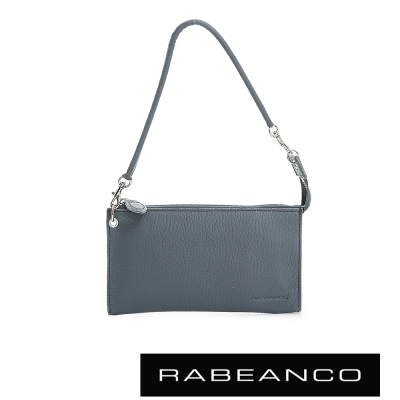 RABEANCO 頂級荔枝紋牛皮手拿包長夾 暗灰藍