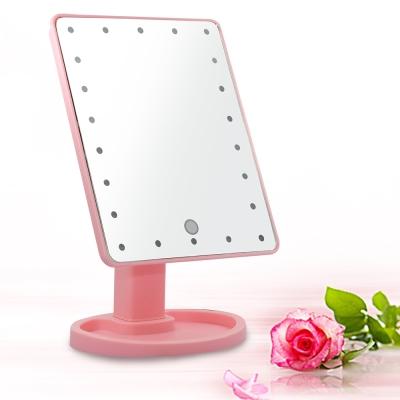 10吋超大22燈LED可翻轉觸控亮度調整美顏化妝桌鏡-粉