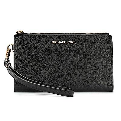 MICHAEL KORS Adele 荔枝紋皮革雙拉鍊隔層手機包/手拿包中夾-黑色