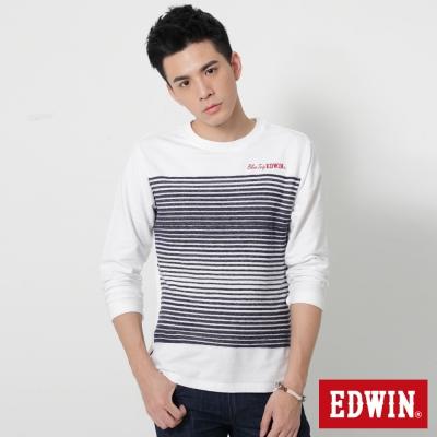 EDWIN 中段反面條紋剪接長袖T恤-男-白色