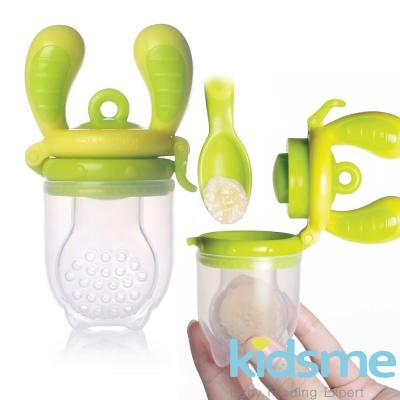 任-英國kidsme-咬咬樂輔食器-黃綠L號