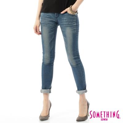 SOMETHING仿雙腰頭窄直筒牛仔長褲-女-中古藍