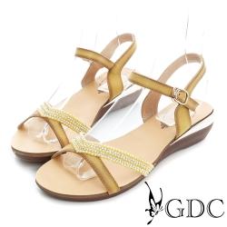 GDC-V型水鑽裝飾真皮楔型厚底涼鞋-黃色