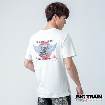 BIG TRAIN 紅日家將圓領TEE-男-牙白