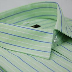 金‧安德森 淺綠底藍白條紋窄版長袖襯衫