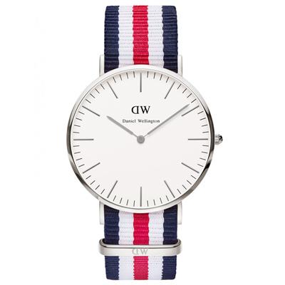 Daniel Wellington Canterbury時尚錶-銀框x藍白紅錶帶/40mm