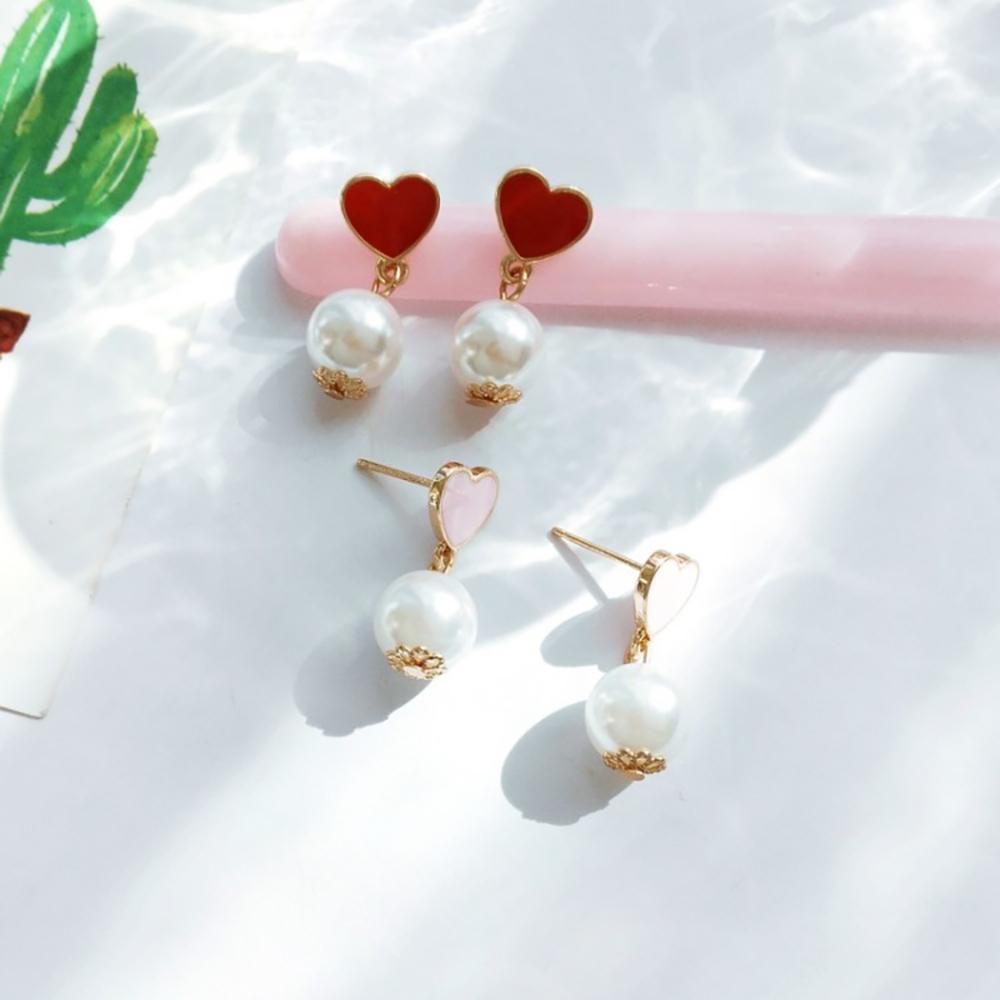 梨花HaNA 韓國女孩的夢中情人愛心珍珠耳環
