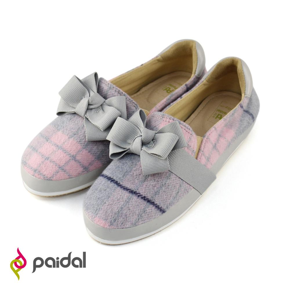 Paidal蘇格蘭紋蝴蝶結平底休閒鞋樂福鞋-甜美粉