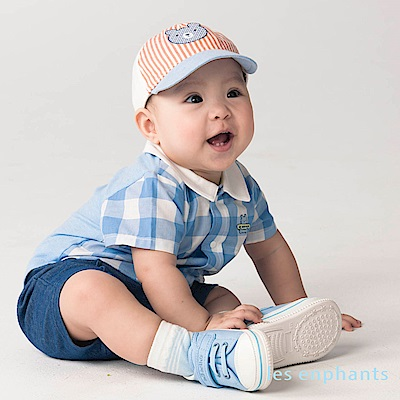 les enphants baby小熊紳仕格紋假二件式連身裝 藍色