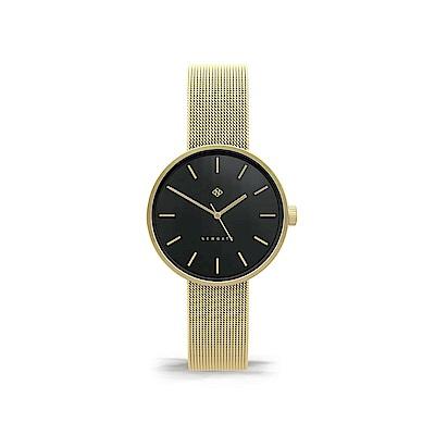 Newgate-ATOM-時尚金-黑色錶面-不鏽鋼米蘭帶-32mm