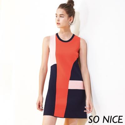 SO NICE都會撞色針織洋裝