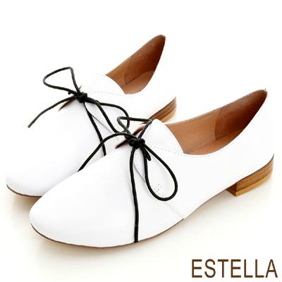 ESTELLA-英倫雅痞-全真皮綁帶時尚紳士鞋-白