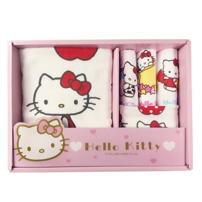 HELLO KITTY凱蒂貓與點點紅蘋果無捻紗禮盒(浴巾+毛巾+3小手巾)