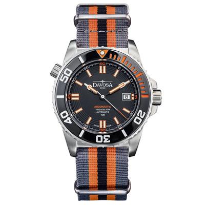 DAVOSA T25橘色氚氣燈管300M潛水錶-彩色軍用錶帶/42mm