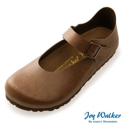 Joy Walker 休閒魔鬼沾釦帶包鞋*咖啡